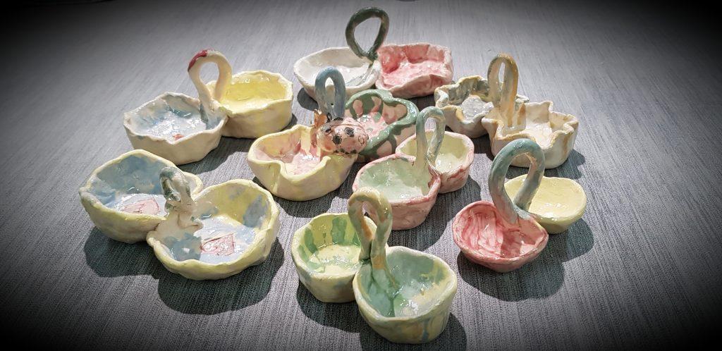 Efekty pracy na zajęciach ceramicznych