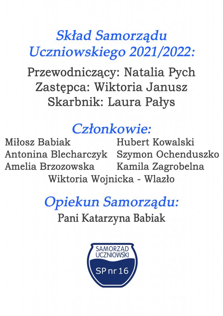 Sklad samorzadu uczniowskiego 2021-22